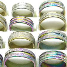 Free Shipping 10Pcs Stainless Steel Mixed Color Style Scrub Rings Jewelry T6