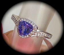 TANZANITE & DIAMOND SILVER RING SIZE N 'CERTIFIED AA GRADE' FAB COLOUR! - BNWT
