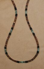 GENUINE TURQUOISE 4mm. GEMSTONE HEISHE SILVER BEAD SURFER GEAR SPORT NECKLACE