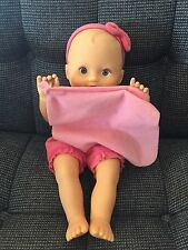 Fisher Price Peek A Boo Blue Eyed Baby Doll Dressed in Pink ARMS DO NOT MOVE