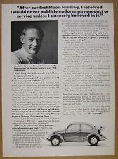 1972 VW Volkswagen Beetle astronaut Buzz Aldrin endorsement vintage print Ad