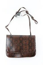 Womens Brown/Black Snake Skin Party Casual Clutch Shoulder Cross Body Bag