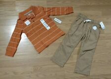 CARTER'S Old Navy Toddler Collar Boy Shirt Pants Pull On Khakis Set 3T Lot NEW