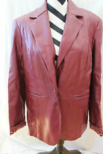 Women's Burgundy SUSAN GRAVER Faux Leather Jacket Sz M CB5-14