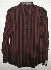 NWT INC INTERNATIONAL CONCEPTS L/S BUTTON UP SHIRT BLK/ORNG STRIPE S $40