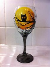 Hand Painted Black Owl Silhouette Tree Moon Large Washable Wine Glass Gift UK