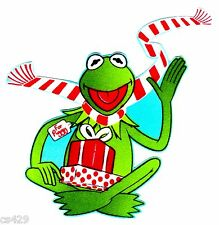 "4.5"" KERMIT THE FROG MUPPETS CHRISTMAS HOLIDAY FABRIC APPLIQUE IRON ON"