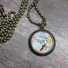 JERSEY CITY NEW YORK NY USA Map Pendant bronze necklace vntg ATLAS f04