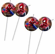 Trinkhalme Spiderman 12 Stück flexibel 20 cm lang Kindergeburtstag Spidermann
