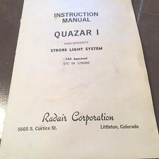 "Radair High Intensity Strobe Light System ""QUASAR I"" Install & Service Manual"