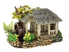 Water Mill & Plants & Air Operated Wheel Aquarium Ornament Fish Tank Decoration