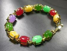 Gold Plate CHINESE Red Lavender Green JADE Cabochon Bead Bangle Bracelet 274475