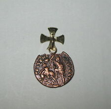 New Constantine 18K Gold Maltese Cross Bail with Bronze Coin Pendant