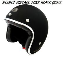 3/4 OPEN FACE VINTAGE MOTORCYCLE SCOOTER HELMET SIZE XS / BLACK GLOSS