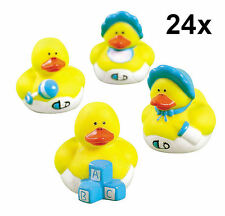 24 Baby Boy Rubber Duckies - Baby Shower Party Favor Gifts Cake Topper Toy NEW