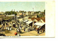 Busy Street Scene-People-Carts-Market Shops-Hyderabad-India-Vintage Postcard