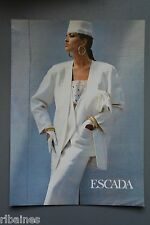 R&L Ex-Mag Advert: Escada, White 1980's Fashion, Waistcoat and Skirt Suit