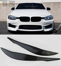 REAL CARBON FIBER UPPER HEADLIGHT EYE BROW LIDS FOR 2013 2014 BMW F30 3-SERIES