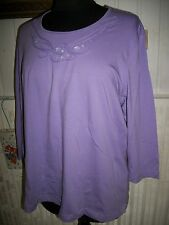 HAUT TOPS T SHIRT coton mauve stretch GERRY WEBER 48FR 46D Strass verre emballés