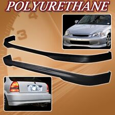 FOR 99-00 CIVIC 3DR T-R POLY URETHANE PU FRONT REAR BUMPER LIP SPOILER BODY KIT