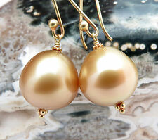 STUNNING 18K GOLD AAA SOUTH SEA PHILIPPINES 12.9x13.1mm GOLD PEARL EARRINGS
