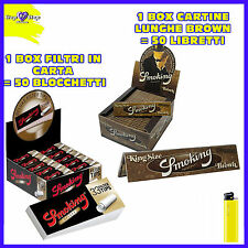 CARTINE SMOKING LUNGHE BROWN 1 box + Carta filtro Smoking Deluxe filtri 50 pz