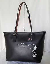 NWT Coach Snoopy City Zip Tote Leather Peanuts Shoulder Bag Handbag Purse 37273