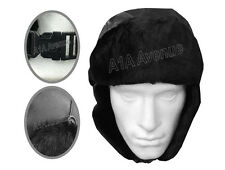New Men's Black Faux Fur Fake Leather Russian Ushanka Trapper Hat Accessory