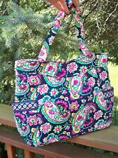 VERA BRADLEY Pleated Tote Bag Large Purse Shopping Travel Petal Paisley