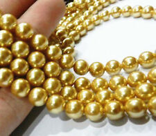 AAA Genuine 8mm Natural Yellow Shell Pearl Round Loose Beads Strand 15""