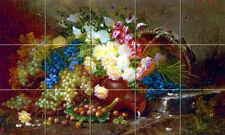 21.25 x 12.75 Art Colorful Grapes Roses Ceramic Mural Backsplash Bath Tile #2029