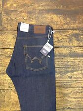 Mens Edwin ED-55 Relaxed Tapered, Compact Indigo Denim Blue Unwashed Size 28,32