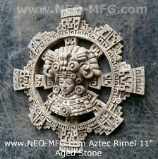 History Aztec Maya Artifact Carved Rimel Sun Stone Sculpture Statue 11""