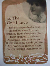 """Pocket Keepsake Messages """"To The One I Love """" Wallet/ Purse  Card"""