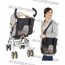NAPPY BAG MOTHER BABY CARRIAGE BLACK FODERO TASCHE DOPPIO USO PASSEGGINO NEONATO