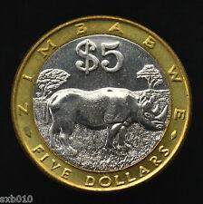 Zimbabwe 5 Dollars 2002 km13. Africa Coin. UNC. Animals (Fauna) Rhinoceroses
