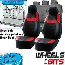VW Caddy Amarok UNIVERSAL BLACK & Red PVC Leather Look Car Seat Covers Set New