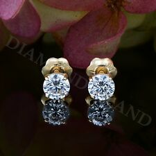 0.5 Ct 14K Yellow Gold Screw-Back Round Brilliant Cut Solitaire Earrings Studs