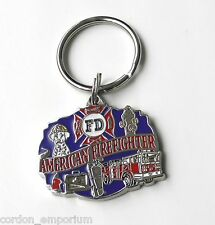 AMERICAN FIRE DEPT FIRE FIGHTER ZINC PEWTER ENAMEL KEY RING KEY CHAIN 1.5 INCHES