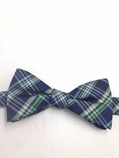 $115 COUNTESS MARA Men`s WHITE GREEN BLUE CHECK BOW TIE CASUAL ADJUSTABLE BOWTIE