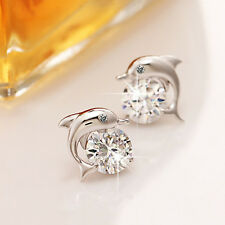 Womens Cute Silver Plated Crystal Rhinestone Eyes Dolphin Stud Earrings Jewelry