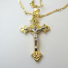 Gold and silver Filled Jesus Christ Crucifix Cross and Chain Necklace - 33 D