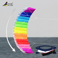 NEW 2.7m Rainbow 2 Line Stunt Parafoil POWER Sport Kite outdoor toys surfing