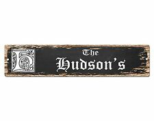 SP0803 The HUDSON'S Family name Sign Bar Store Shop Cafe Home Chic Decor
