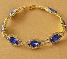Around Blue Cubic Zirconia 9K Yellow Gold Filled Womens Bracelet F6109