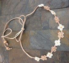 Leather String Headband Burlap Flower Girl Halo Crown Barn Wedding Baby Hair