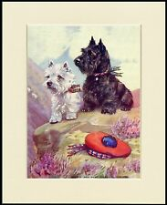 SCOTTISH AND WESTIE TERRIER WITH HAT LOVELY DOG PRINT MOUNTED READY TO FRAME