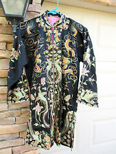 Vintage Silk Embroidered Chinese Dragon Robe Jacket Antique Tapestry