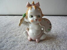 "Vintage Ceramic Baby Sitting Figurine Holding Paint Brush And Pallete "" RARE ITE"