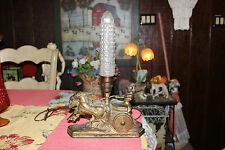 Vintage Spelter Roman Chariot Horses Table Lamp W/Glass Phallic Globe Shade